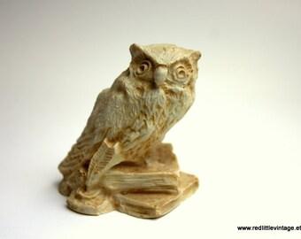 Owl Figurine, Book Lover Gifts, Owl Decor, Vintage Owl, Beige Owl Figurines, Owl Home Decor - Collectible Owls - Vintage Owls -  Desk Decor
