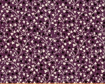 SUPER CLEARANCE! One Yard Clover Vine in Purple - Crazy For Shelburne Cotton Quilt Fabric - Windham Fabrics (W468)