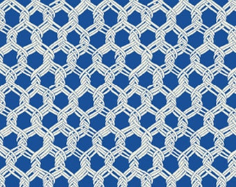 SUPER CLEARANCE!! One Yard By The Sea - Landing Net in Royal Blue - Nautical - Cotton Quilt Fabric from Benartex Fabrics (W668)