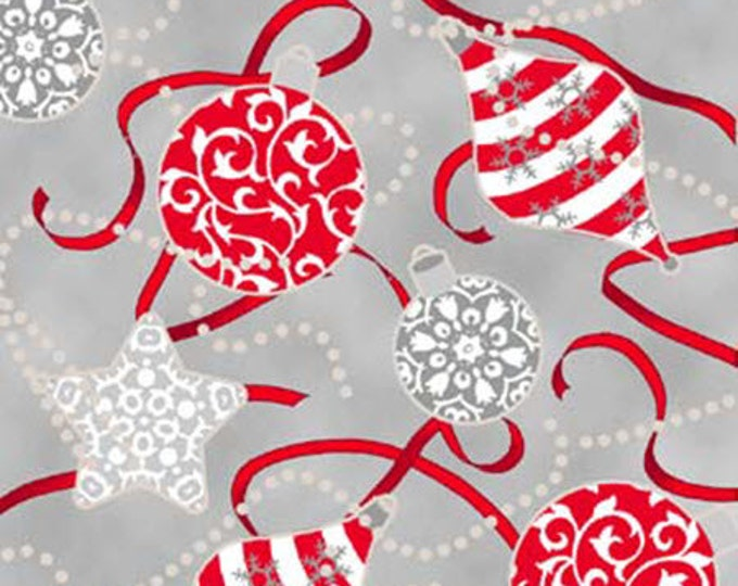 """30"""" REMNANT Celebrate the Season - Ornaments in Gray / Red - Cotton Quilt Fabric with Metallic Accents - Quilting Treasures (W1798)"""