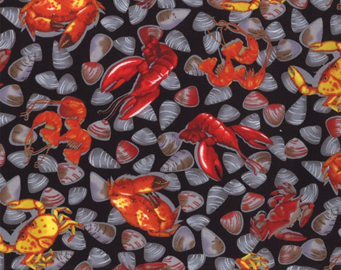 Fat Quarter Beacon Cove - Catch of the Day in Black - Novelty Beach Cotton Quilt Fabric - from Paul Brent for Moda - 39012-19 (W2054)