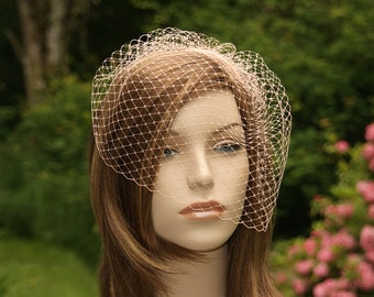 Blush Pink Birdcage Veil, Ready to Ship, Bridal Bird Cage, Wedding Hairpiece, French Netting Blusher, White, Ivory, Champagne, Ecru, Black