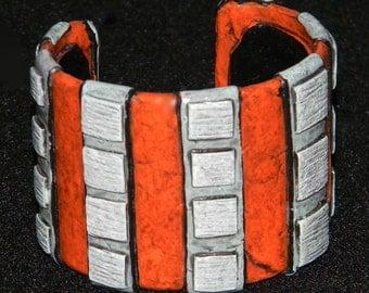 Cuff Bracelet Bangle Distressed Boho Polymer Clay Mid Century Modern Jewelry Women SKYLIGHT23 by ArtCirque Donna Pellegata