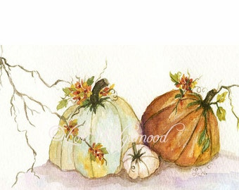 Rugged Pumpkins - Fall Autumn - Watercolor - Artist Print - Digital