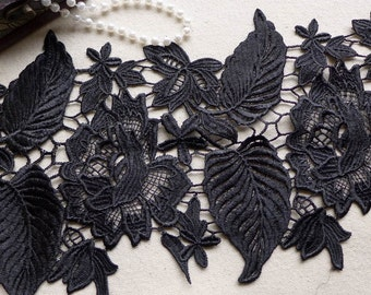 ONE Yard Black Venise Lace Trim with Rose and Leaf Embroidered Lace Trim Wedding Fabric 6.69 Inches Wide