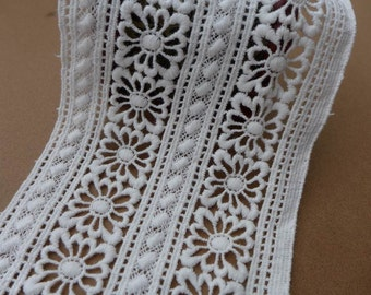 White Cotton Lace Trim Embroidered Hollowed-out Lace Fabric Trims for Home Decor Costumes Sewing