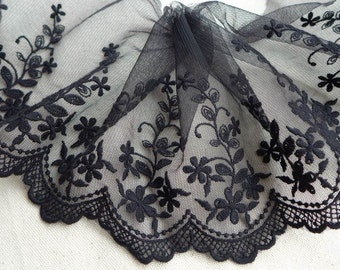 Black Embroidered Tulle Lace Floral Lace Trim for Altered Couture, Purse bag, Black dress lace 2 yards
