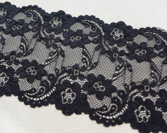 "Soft Stretch Lace, Black Elastic Lace, Wide Stretch Floral Lace Trim, 5.9"" wide Elastic Lace 2 Yards"