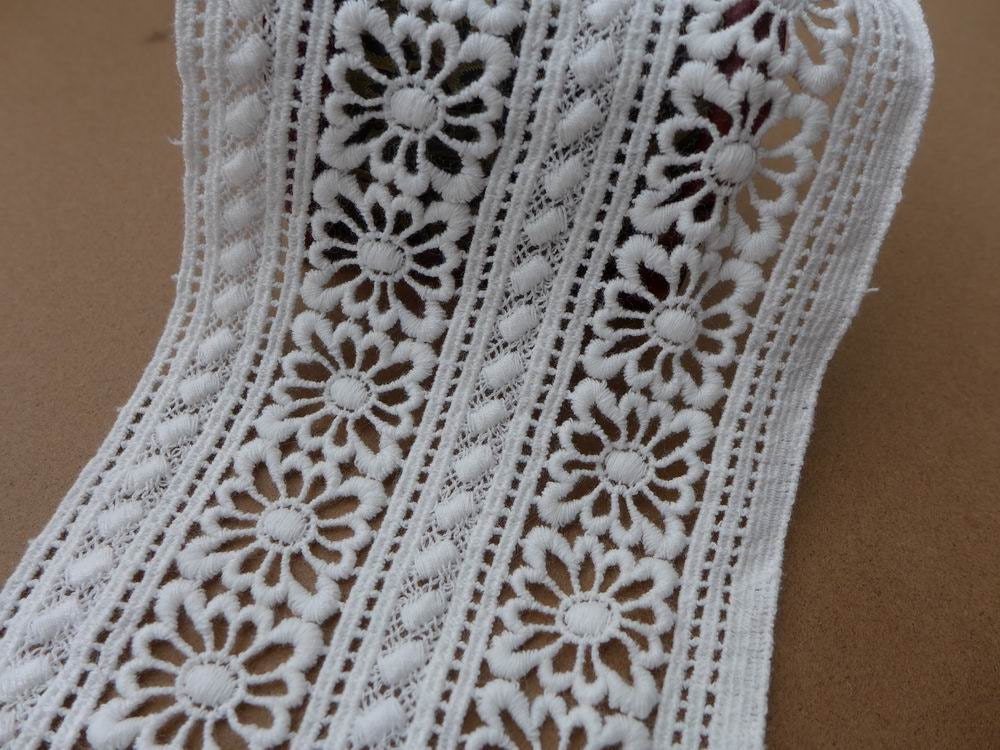 White Cotton Lace Trim Embroidered Hollowed Out Lace Fabric