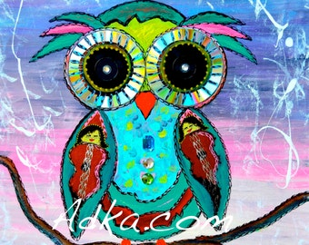 SIGGY Original Mixed Media Owl Painting with Interactive Eyes