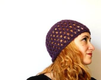 Woman crochet beanie, handmade purple and silver boho mohair beret, crochet hat