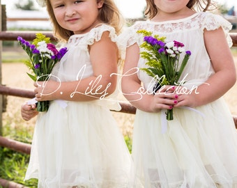 The Original Charlotte  - Ivory, Lace, Chiffon Flower Girl Dress, made for girls, toddlers, ages 1T, 2T,3T,4T, 5/ 6, 7/8, 9/10