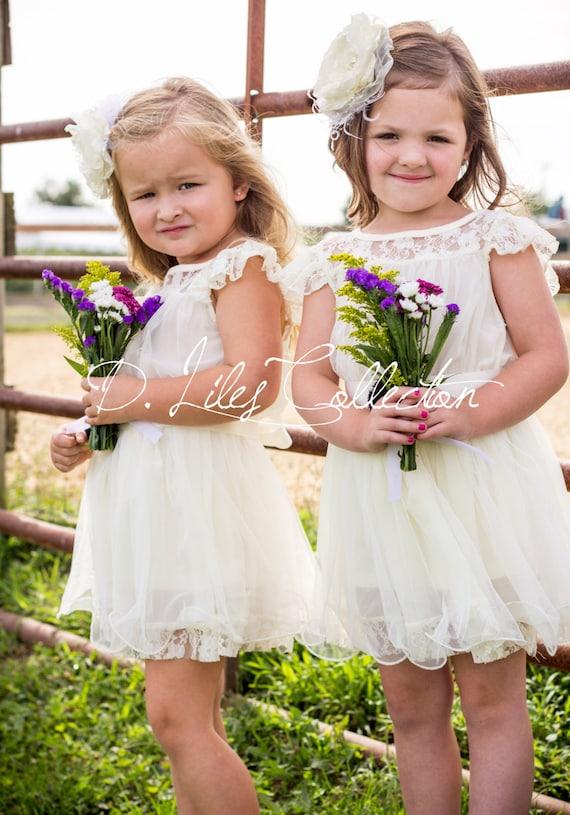 The Original Charlotte Ivory Lace Chiffon Flower Girl