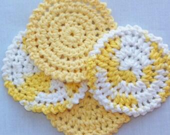 Shining Through - Set of 4 100% Crochet Cotton Coasters - Facial Scrubbies - Coasters Set Sale - Facial Scrub Pads