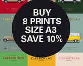 Discount Set - Movie posters - Any 8 Prints A3 - Save 10% - Size A3 - Carsandfilms
