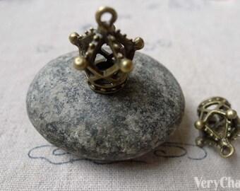 10 pcs Antique Bronze 3D Filigree Crown Charms 13x19mm A6851
