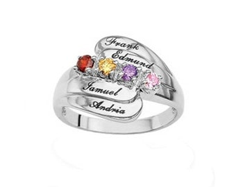 Mother's Ring with Stones & Engraving (MR90667ENG) ss
