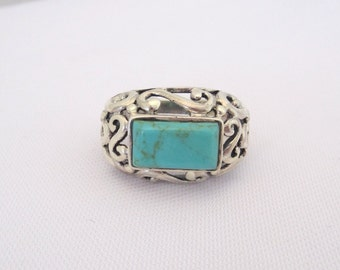 Vintage Sterling Silver Turquoise Filigree Ring Size 7.25