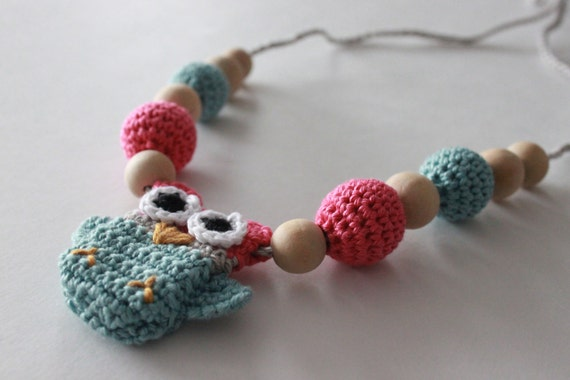 Nursing Necklace, Breastfeeding Necklace, Crochet Owl, Crochet Jewlery, Teething Necklace, Beads
