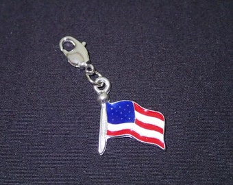 Handmade American Flag Dangle Compatible with all Living/Floating Lockets