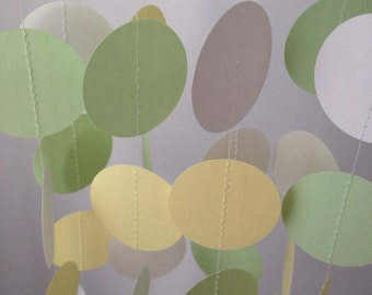 Light Yellow, Light Green, White 12 ft Circle Paper Garland- Party Decorations, Birthday, Wedding, Bridal Shower, Baby Shower