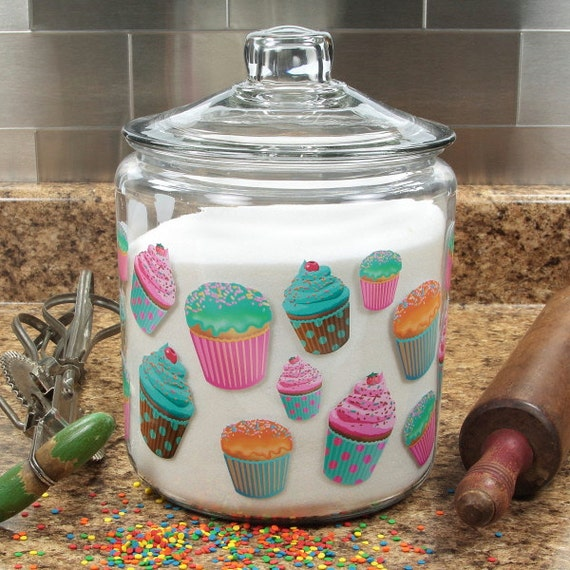 Cupcakes Glass Kitchen Canister Glass Lid 128 Oz 47591