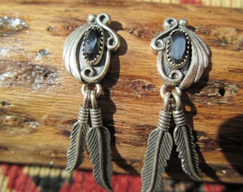 Hematite and Sterling Feather Earrings
