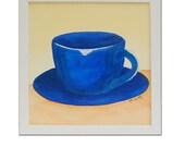 Arte.Pintura acrílica. Taza de café azul. Obra sobre lienzo