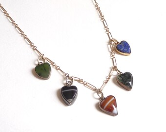 1940s 14k Gold and Agate Heart Necklace