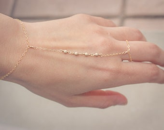 14k Gold Filled Hand Chain Finger to Wrist Slave Bracelet