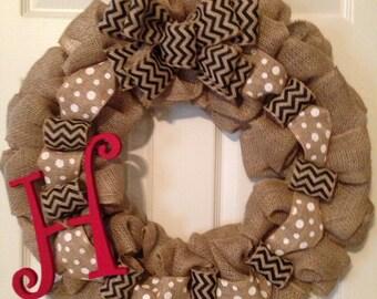 CHEVRON BURLAP WREATH with Initial, Summer Wreath, Spring Wreath, Wedding Gift, Fall  Burlap Wreath , Front Door Wreath