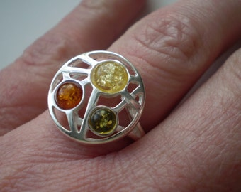 Amber (Natural) 925 Sterling Silver Size 7.25 Ring