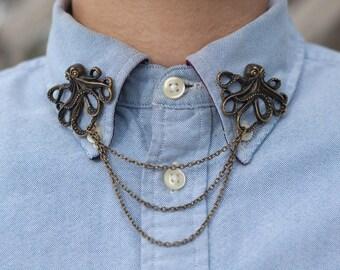 Bronze Octopus Collar/ Cardigan Clip