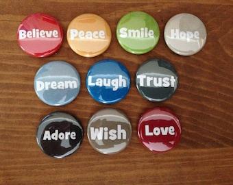 Motivational Words Button Set of 10 Pinback Buttons, Inspiration, Inspirational, Motivational