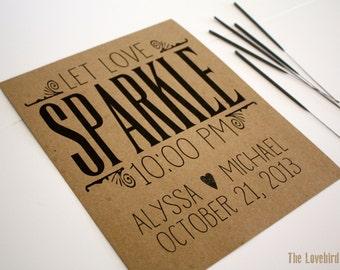 Sparkler Send Off Sign - Personalized Printable Let Love Sparkle Wedding Sign - Rustic Wedding - Sparkler Sign - AA2