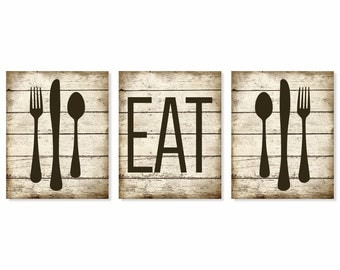 Eat Art Print, Rustic 'Faux' Wood, Fork Spoon Knife Art, Set of 3 Prints, Kitchen Wall Art, Kitchen Print, Kitchen Wall Decor, Rustic Decor