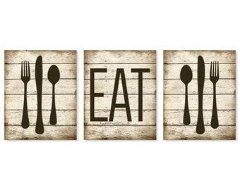 Eat Art Print, Rustic U0027Fauxu0027 Wood, Fork Spoon Knife Art, Set