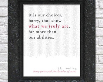 literary art print / book quote // harry potter and the chamber of secrets; j.k. rowling