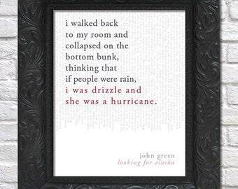 literary art print / book quote // looking for alaska; john green