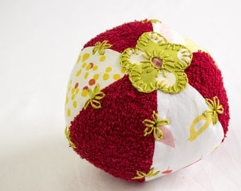 Baby Ball Soft Toy,Bath Toy,Flower Applique,  Hand Embroidered,Organic Cotton and Terry Cloth,Red,Pink,Green