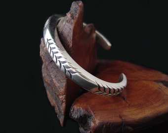 Super Heavy 0 gauge Hand Forged Mens Sterling Silver Cuff Bracelet .... Made to Order