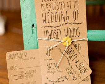 Brown kraft paper wedding invitation, eco friendly, folk, woodland printable wedding invitation pdf template