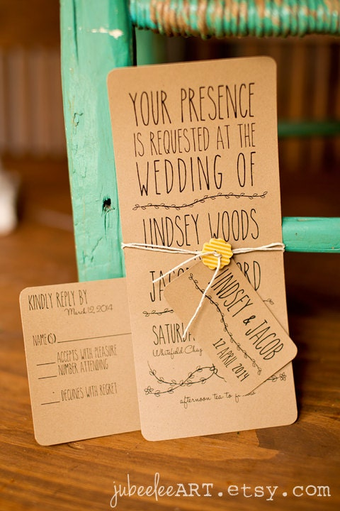 Rustic Backyard Wedding Invitations : Whimsical rustic printable wedding invitation with leaf vine detail