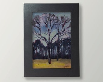 """Dark Trees, original oil painting, 7"""" x 5"""",  framed"""