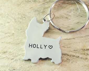 Yorkshire Terrier Dog Keychain Pet  Memorial Gift Pet Lovers Gift dog key chain dog charm dog pendant pet keychain 925 sterling silver