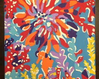 Hand painted Lilly Pulitzer inspired canvas - Trippin' and Sippin'