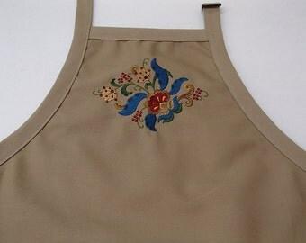 Embroidered Norwegian Rosemaling on Khaki  Apron #861