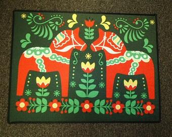 Scandinavian Swedish Dala Horses  Rug ~  Door Mat #432