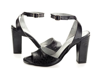 Black leather sandals - Wedding shoes - Leather shoes for women - Ankle strap sandals - High heel sandals - Womens sandals