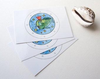 Set of 3 artistic postcards Uncle Fish
